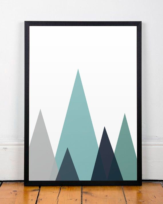 Mountains Print, Geometric Wall Art, Abstract Print, Blue Wall print, Triangles…