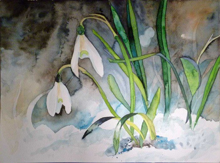 Lust auf Frühlingsaquarelle? | Schneeglöckchen (c) Aquarell von Frank Koebsch