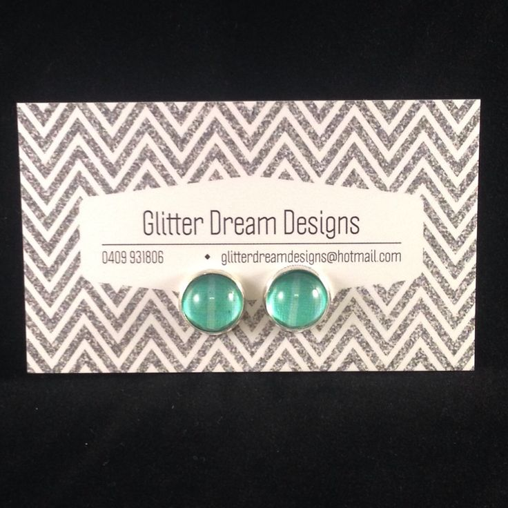 Order Code D10 Green Cabochon Earrings