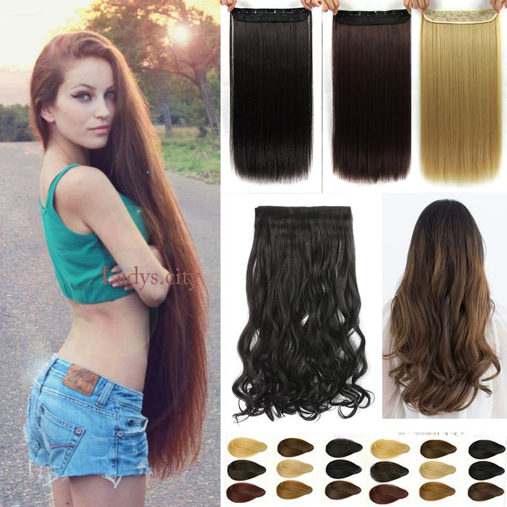 Natural Long Straight Hair Clip in on Hair Extensions 23 30 inch Length Super long blonde hair Black Dark Light Brown hairpiece