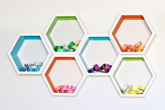 Small Honeycomb Shelves - Set of 6  - Custom to your room - Personalized - Hexagon Shelves