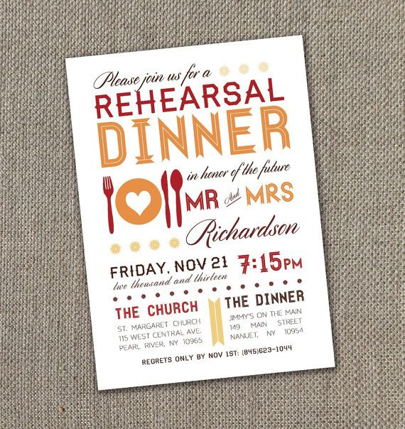 Modern Fall Rehearsal Dinner Invitation 5 X 7  (Digital file)