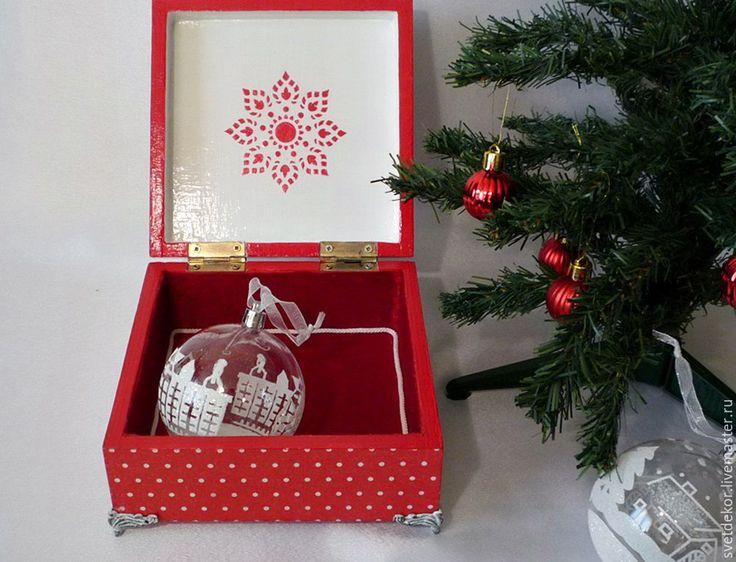 """Купить Шкатулка """"Новогоднее настроение"""" - ярко-красный, новый год 2017, шкатулка для украшений, шкатулка декупаж"""