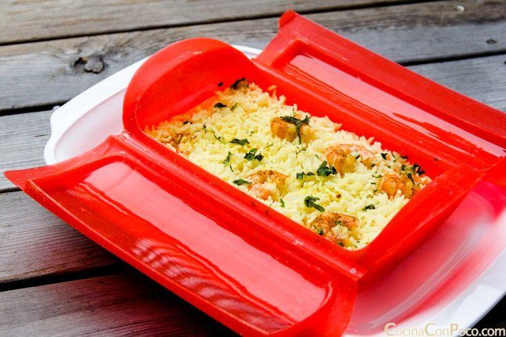 Arroz con curry y gambas – Vaporera Lekue silicona