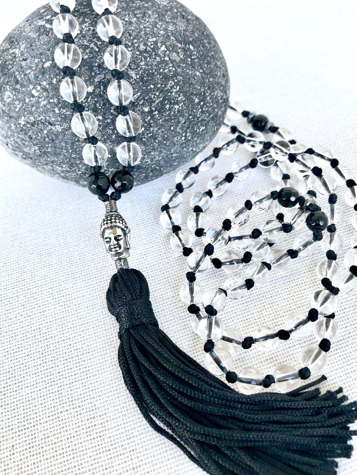 Clear quartz mala necklace crystal quartz Buddha mala necklace yoga mala meditation necklace black onyx tassel necklace 108 prayer beads by Katiaicrafts on Etsy