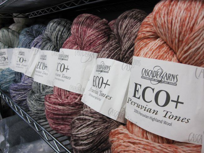 New for fall! Eco + Peruvian Tones is a natural Peruvian highland wool that is dyed according to strict Peruvian government requlations in as environmentally friendly a manner as possible. This chunky weight yarn is perfect for heavier garments or accessories & is suitable for felting. Available in-store and online.
