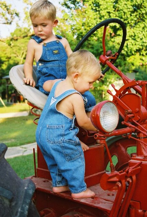 They don't come much cuter than little guys in bib overalls! This is what my little guys will be doing someday:)