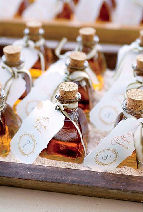 Mini bottles of rum that double as escort cards | Brides.com