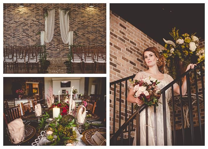 The Grand View Reception center brick wall | The Penelope by Jasmine Bridal | Gateway Bridal & Prom | SLC | Utah | Fall | Autumn Wedding Inspiration | Lindsey Black Photography | Gold | Woodsy | Earthy | Burgundy | Grand View Reception Center