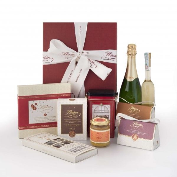 """Florian Luxury Selection A tribute to the elegance of the Italian style and to the Venetian tradition  The hamper includes:  - 1 Florian """"Venezia 1720"""" blend roasted ground coffee in tin  - 1 Florian orange extra jam - 1 Florian selection of teas - 1 Cappuccino dragées - 1 Florian fine dark chocolate hot cocoa - 1 Luxury box of chocolate pralines - 1 Gourmet selection of chocolates - 1 Brut Florian Franciacorta DOCG - 1 Florian Brandy"""