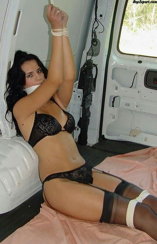 Sexy women tied up in a truck-8562