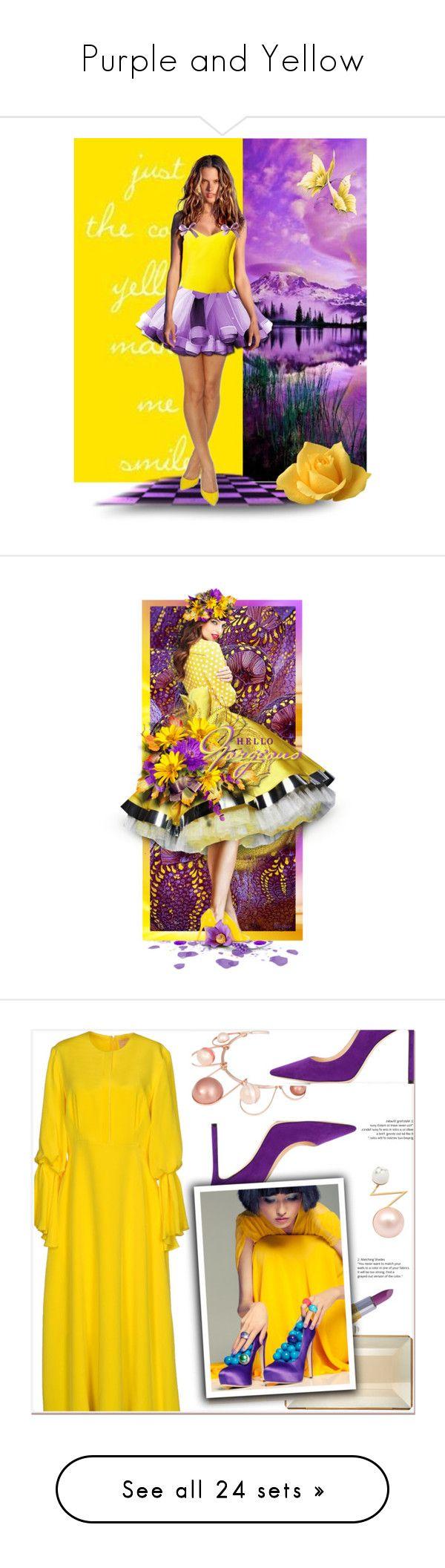 """Purple and Yellow"" by karen-galves on Polyvore featuring art, contestentry, Jimmy Choo, Roksanda, Winky Lux, Judith Leiber, LeiVanKash, yellow, purple and yellowdress"