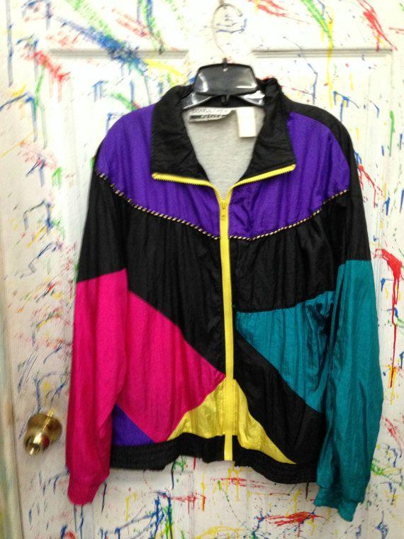 Vintage 80's windbreaker jogging swish zip up jacket for both men and women Medium Black Neon pink yellow purple Color block design by RagsAGoGo, $28.00