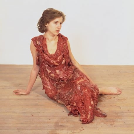 Jana Sterbak, Meat Dress, 1987.  flank steak, salt, thread, color photograph on paper. Walker Art Center.