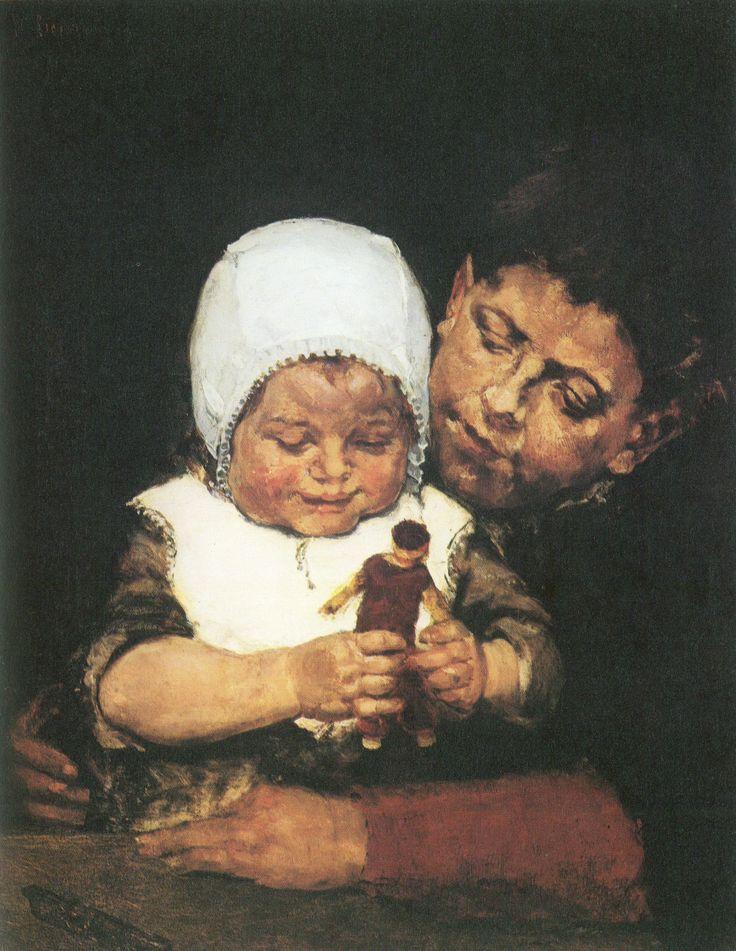 Max Liebermann (1847-1935) : Die Geschwister, 1873. with a doll