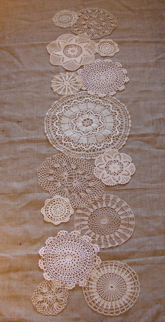 Lace table runner and burlap