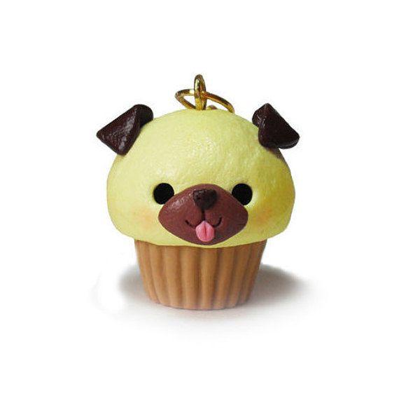 Kawaii Dog Cupcake Charm Miniature Food Jewelry por ACupcakeForYou