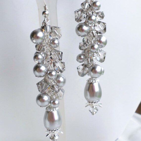 STATEMENT EARRINGS LONG BLUE SILVER AND PEARL COLOURED