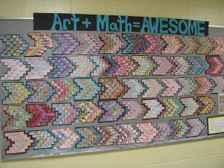art + math = awesome lesson involves Paul Klee  multiplication. students get background knowledge of Klee, we talk about tessellations  multip.  students get a page of 1-inch graph paper  write out a 1 digit C 1 digit mult. problem w/ a 2 digit answer.  They choose one that's hard for them to remember  repeat that problem 7 times.... +Details on bloggers website.