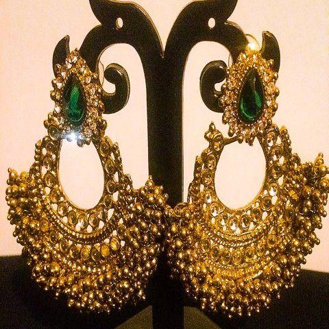 Indian Ethnic Gold Plated Chand Bali Green Kundan Ram Leela