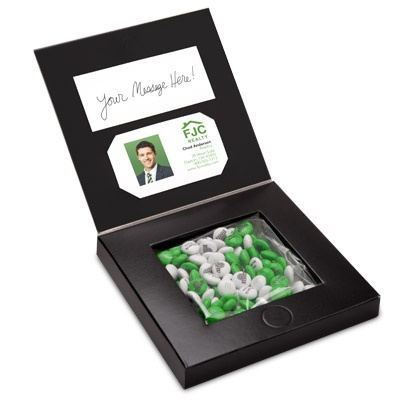 NEW! This sleek and sophisticated gift box with an inside pocket for business cards makes for a memorable client or employee gift. Comes with 4oz of personalized M'S®.
