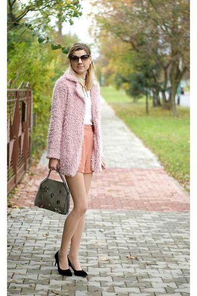 black Sheinside shoes - light pink Sheinside coat - charcoal gray zaful bag