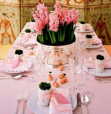 dreamy table setting love the pink hyacinth in silver bucketlittle pots of ribbon & 43 best pink tablecloth images on Pinterest | Harvest table ...