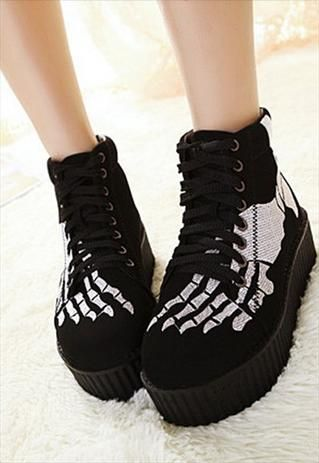 Human Skeleton Platform Shoes
