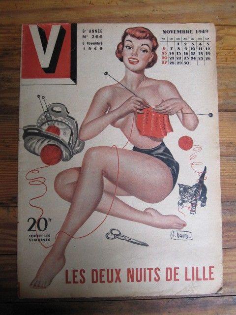 Original French Pin Up Magazine, V Nov. 1949 Knitting Pin Up On Cover
