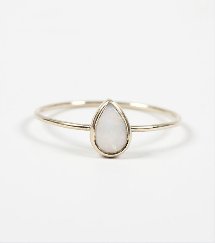CATBIRD Teardrop Ring. Opal stone set in 14k yellow good - great for stacking and perfect for the non-traditional bride.