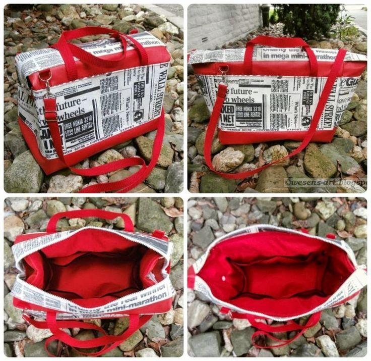 wesens-art.blogspot.com Stoff wird durch Aufbügeln von selbstklebender Bucheinbandfolie (zwischen Backpapier) wasserfest Alternative: Lamifix Vlieseline