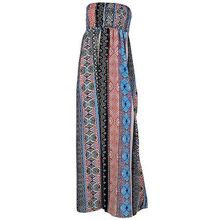 Achilleas Accessories - Προϊόντα : Collection | SS 2017 / Ρούχα / Φορέματα & Πουκαμίσες / ΦΟΡΕΜΑ ΜΑΚΡΥ STRAPLESS ΣΕ ΕΘΝΙΚ PRINT