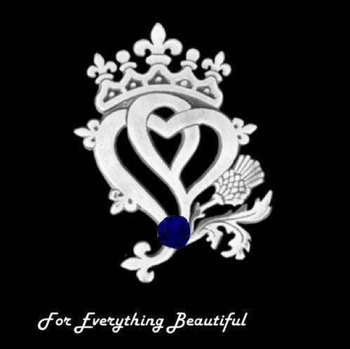 Hearts And Thistle Sapphire Luckenbooth Large Sterling Silver Pendant
