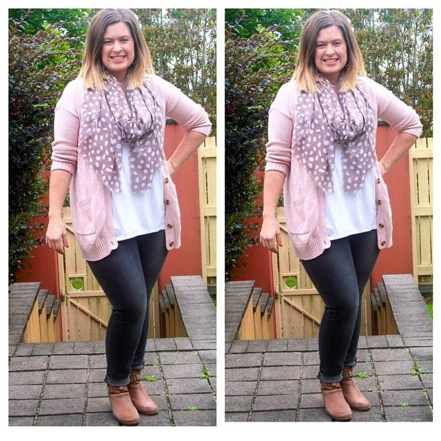 baby pink cardi with a polka dot scarf