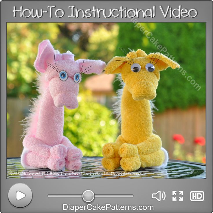 How to Make a Washcloth Giraffe Instructional Video | Diaper Cake Patterns
