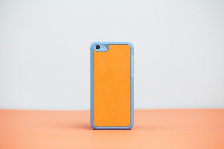 Cover iPhone 5c Blue - Orange Bolivar // Wood'd #woodd
