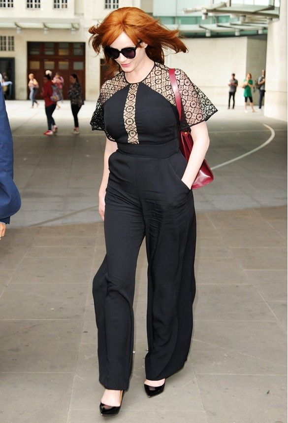 The Best Style Tips for Large-Chested Women via @WhoWhatWear The jumpsuit is designed to flatter your curves, so it only makes sense that it would be an ideal statement piece for big-chested women. Christina Hendricks recently wore a Temperley London jumpsuit with black pumps, and the result was a thorough success.