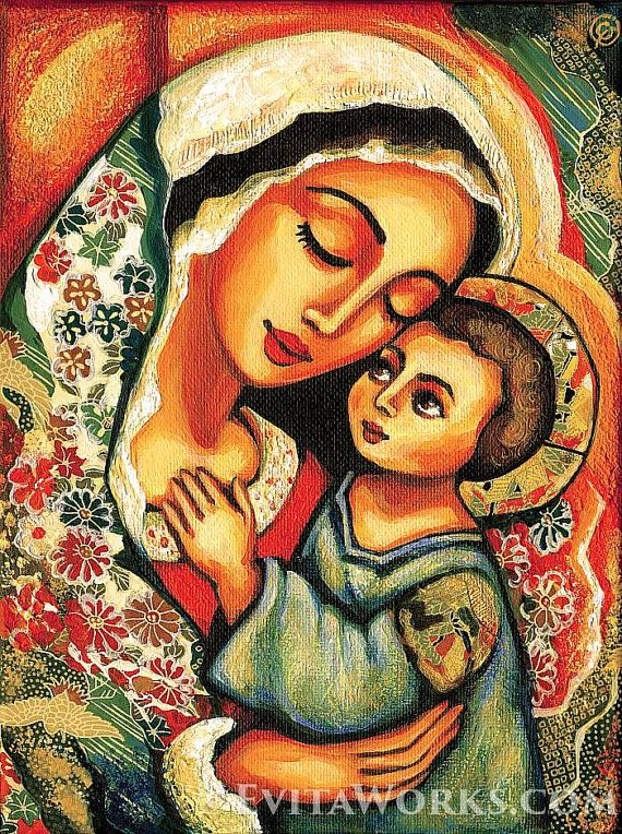 Madonna Child Blessed Mother Virgin Mary Jesus mother son motherhood art Christian art, beauty painting, feminine decor, 8x11+