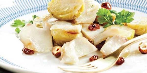 Bacalhau com couves de Bruxelas salteadas