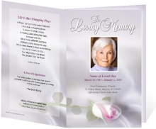 Design is adorned with a single rose ornament on the front of memorial program template. Satin background with soft lavender hues.