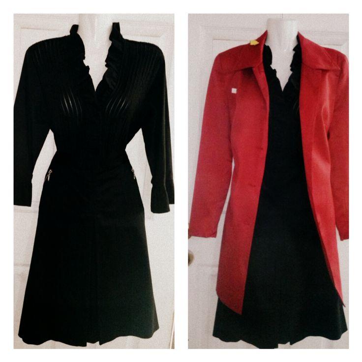conjunto negro de blusa,  falda y tapado rojo