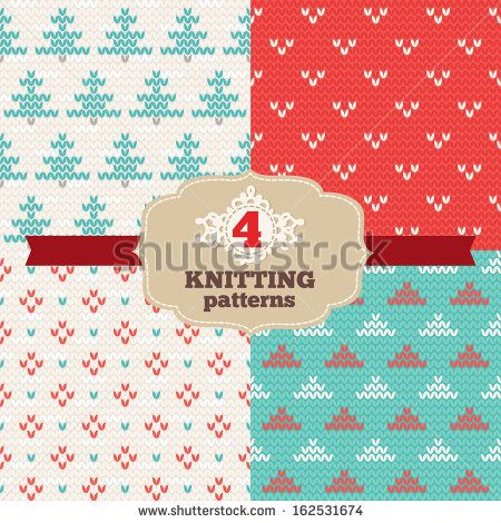Set of knitting patterns - stock vector. Knitting ornaments.