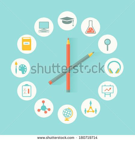 Education Icons Infographics Flat Design. Education, Curriculum Concept
