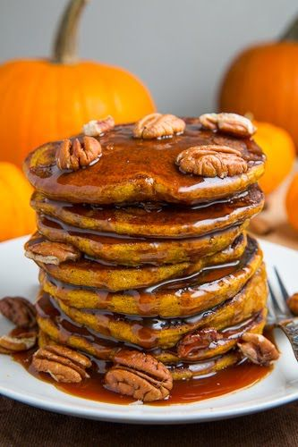 Pumpkin Pie Pancakes...with caramel sauce!  Yummy...like having dessert for breakfast!