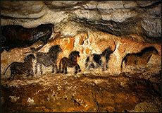 A parade of horses, beautiful variety - 20,000 year old cave paintings at Lascaux