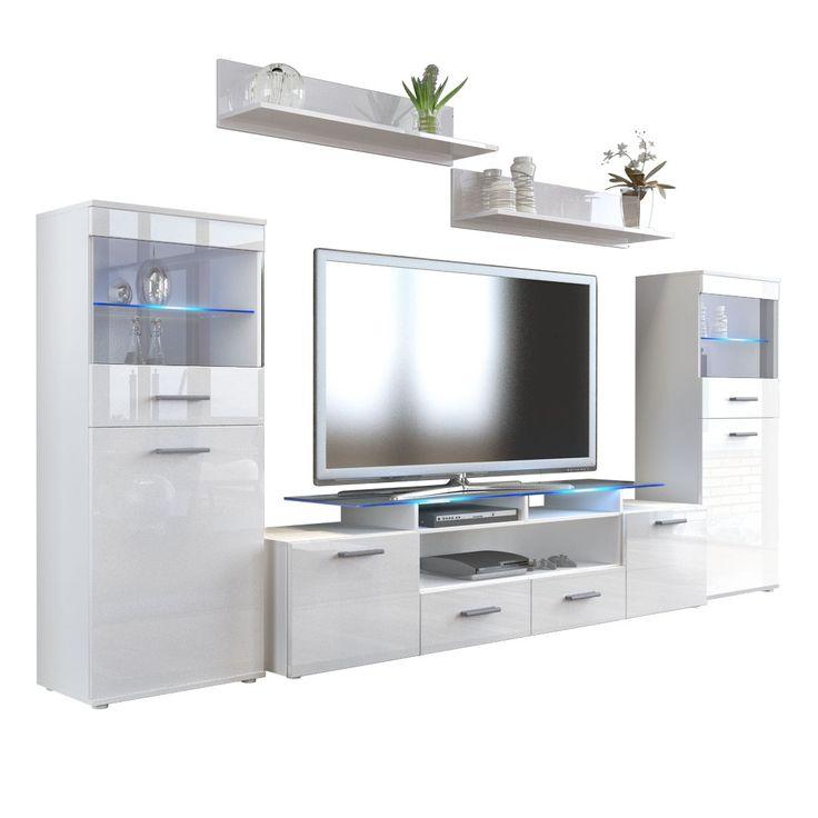 Cute Almada V Wohnwand in Hochglanz mit Vitrinen TV Aufsatz optionaler LED Beleuchtung von vladon
