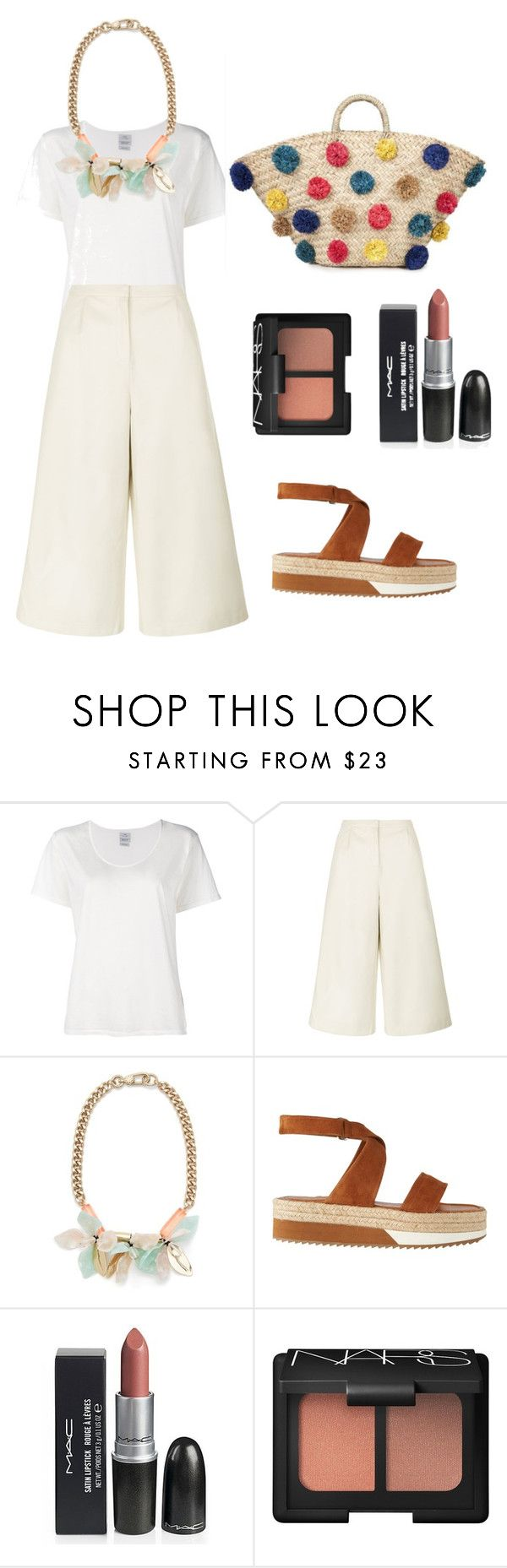 """Basic white tshirt and culotte"" by keypiece ❤ liked on Polyvore featuring Visvim, Traffic People, Whistles, Garcia and NARS Cosmetics"