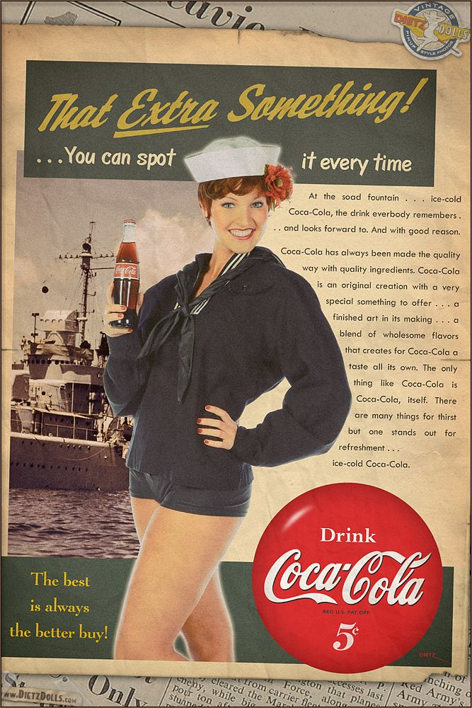 """warbirdphotos:  """"A 1940s style Coca Cola advertisement recreation (in the same process as the WW2 pinup posters). The fonts in this ad were very carefully researched to the closest possible match with very little to no differences from the fonts used..."""