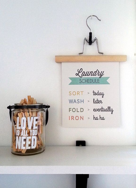 40 Fabulously Free Bathroom & Laundry Room Printables - Dwelling In Happiness...hang printables from hangers instead of in frames!