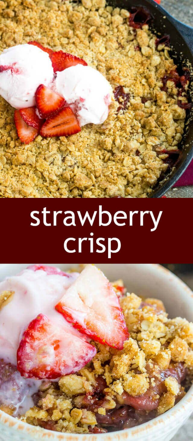Strawberry Crisp homemade/ fresh strawberries / streusel / crisp recipe Crispy, fruity and absolutely delicious this Strawberry Crisp is a fun and tasty treat that whips up in just a few minutes! via @tastesoflizzyt
